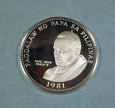1981 PHILIPPINES 50 PISO - POPE JOHN PAUL II -Silver - PROOF