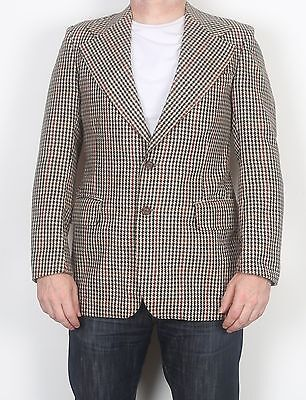 "70's 80's Harris Tweed Chest 36"" Jacket Blazer Beige (FDA) 1970's 1980's"