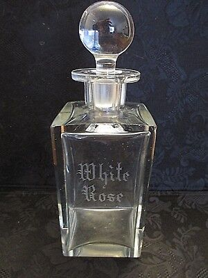 """Etched Engraved White Rose Blown Clear Glass Decanter 8-1/4"""" Tall Stopper"""
