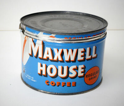 Vintage Maxwell House 1 Pound Coffee Can Tin w/ Lid General Foods New Jersey USA