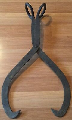 "Old Vtg Antique Primitive Hand Forged Iron Ice Block Tongs 29"" Extra Large Tool"