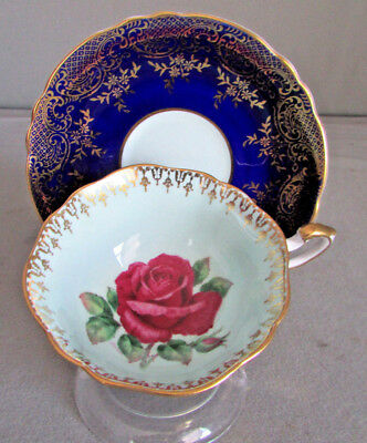 Vintage Paragon  Cabbage Rose Cobolt Blue Teacup  Gold Gilding Signed R. Johnson