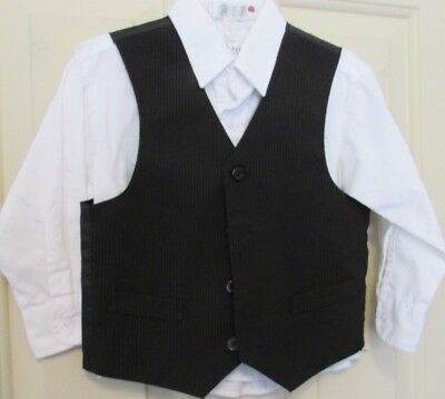 Toddler Boys 3T/4T black pinstripe vest (3T), white long sleeve shirt (4T)