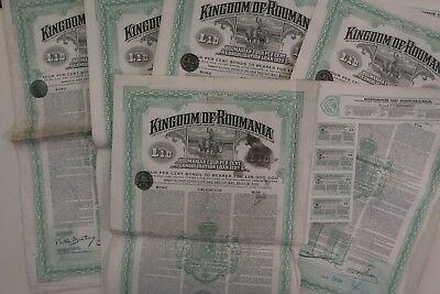Kingdom Of Roumania Consolidation Loan £10 4% 1922 X 5 Actions