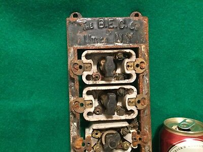 Vtg BEC Cast Iron 4 Gang Electric Switch Box Frankenstein Steampunk Hubbell ?