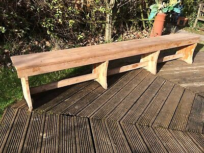 "Antique rustic solid pine bench, old school bench, 8ft 8"" long"
