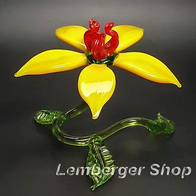 Self-standig flower made of colored glass . Width 8 cm / 3.2 inch !
