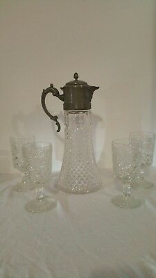 Glass Eales Italy Silverplate Water/ IceTea   Decanter Ice Insert  Glasses