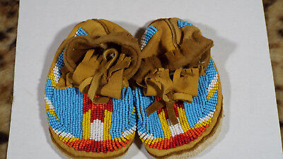Beaded Baby Moccasins Native American Regalia (Moose Hide)