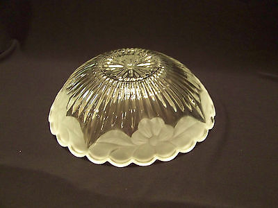 """Vintage glass ceiling light shade clear frosted flower rim 11 1/4"""" wide"""