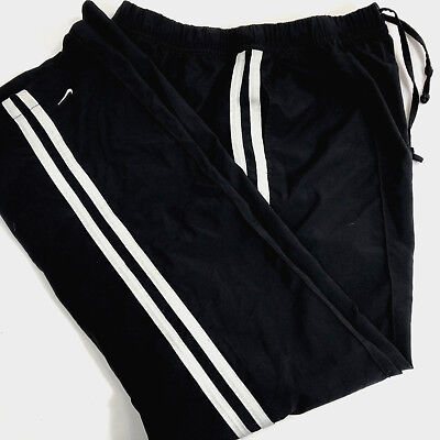 Nike Boys Pants Sz Large 12-14 Black White Side Stripes Woven Drawstring Waist