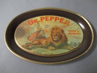 Dr Pepper Metal Tip Tray With King Of Beverages Lion.