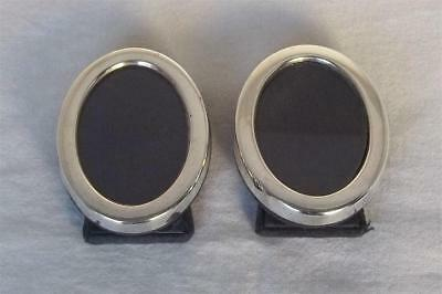 An Exquisite Pair Of Sterling Silver Oval Photo Frames Sheffield 1988-89.