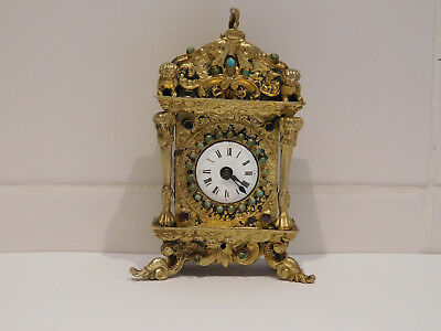 Antique Miniature Bracket Clock Set With Jewels. Possibly Silver Gilt.