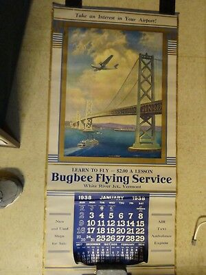 1938 Bugbee Flying Service White River Junction Vermont Huge Calendar