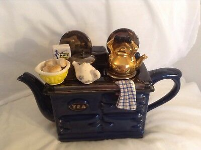 Teapottery Swineside Novelty Collectable Teapot Blue Breakfast Aga Grt Condition
