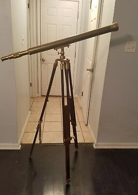 Rare Large Ross London 1939 Us Navy Spyglass Telescope Tripod