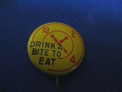 Vintage Dr Pepper Pin Back Button For The 1940's With Clock Dial And  Slogan