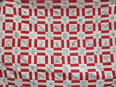 Antique Dated 1893 Hand Pieced Embroidered Block Red Work Folk Art Quilt NR yqz