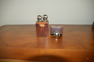 Antique Leather Glass Small Perfume Casket/caddy With 2 Original Bottles