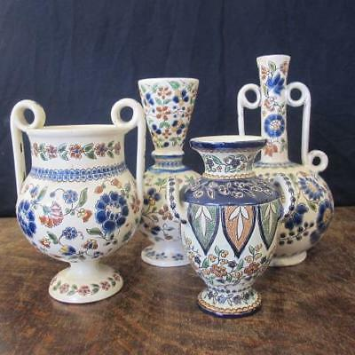 4x ART NOUVEAU PERIOD THOUNE THUN SWISS MAJOLICA FAIENCE POTTERY VASES