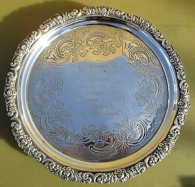 Antique Georgian Sterling silver salver, 601g, Lincoln College, Oxford