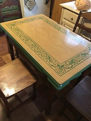 Vintage Enamel Top Kitchen Table With Extensions