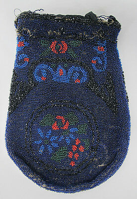 Antique Micro Beaded Victorian Cobalt Blue Floral Design Shabby Chic Cond NR yqz