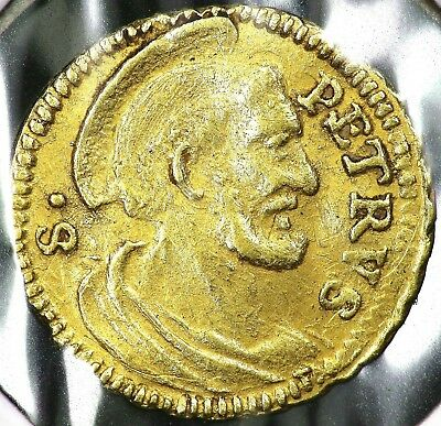 1740-1758 Gold Quarter 1/4 Scudo Type 1 Papal States Italy