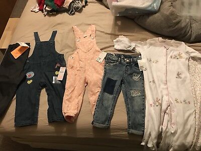 All Bnwt Girls Bundle 1-2 H&m M&s Next 12-18 18-24 Dungarees Sleepsuits Jeans
