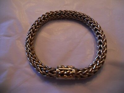 Vintage Wheat Woven .925 750 Bracelet 48.0 Grams 7 1/2 Inch Maker Mark Cursive S