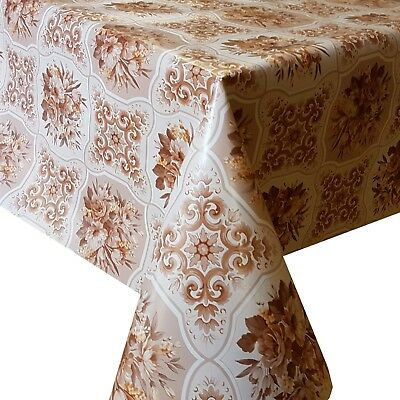 Pvc Table Cloth Bouquet Natural Latte Beige Flower Leaf Scroll Geo Patchwork