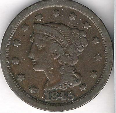 1845 Large One Cent  1c Braided Hair  ~ Very Nice with AWESOME  Detail!