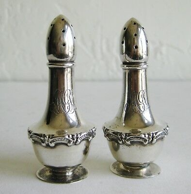 Fine Antique Victorian Repousse Sterling Silver Footed Salt & Pepper Shakers