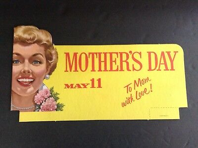 Vintage Mother's Day Store Display 1950s Advertisin May 11 two sided litho