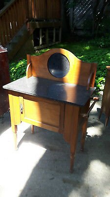 Antique Wood Bathroom Table W/ Marble Top
