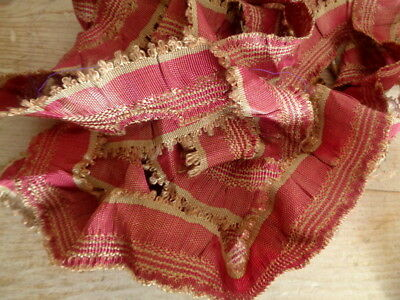 Beautiful Antique Silk Passementerie With Picot Edge Cranberry Coloring
