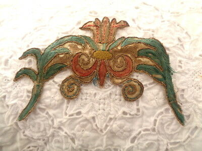 """18Th Century French Silk & Metallic Embroidered Fragment """"rare"""""""