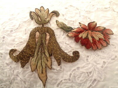 19Th Century French Silk And Metallic Embroidered Floral Applique Fragment