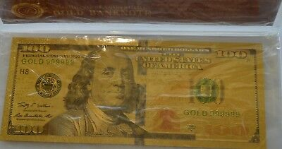 1 Gold Hundred Dollar Banknote and the certificate of authenticity.