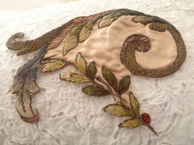 """19Th Century French Silk And Metallic Embroidered  Applique Fragment 7"""""""
