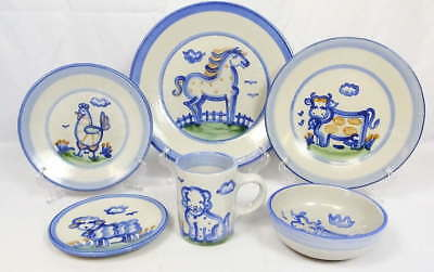 (1) 6 Pc. Place Setting MA Hadley Pottery Dinnerware Blue Country Scene Horse ++