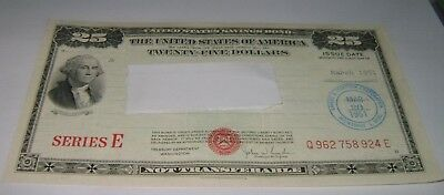 $25 Series E 1951 United States U.S. Savings Bond Twenty Five Dollar
