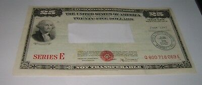 $25 Series E 1947 United States U.S. Savings Bond Twenty Five Dollar