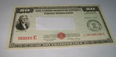 $50 Series E 1954 United States U.S. Savings Bond Fifty Dollar