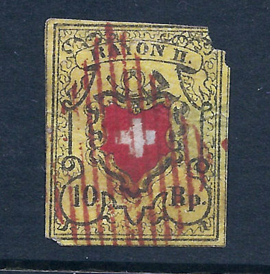 Switzerland Scott #8 10 R Used Corner Flt, Cheap Stamp, Free Shipping In Usa