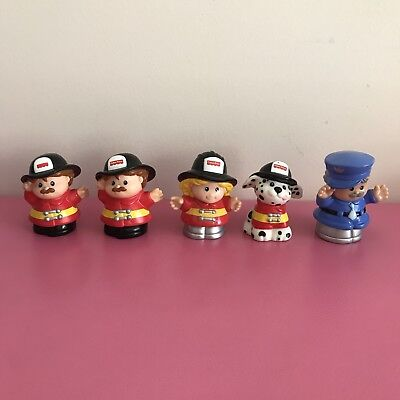 5 Vintage Fisher Price Little People Figures Firefighters Dog Police Man 98-2000