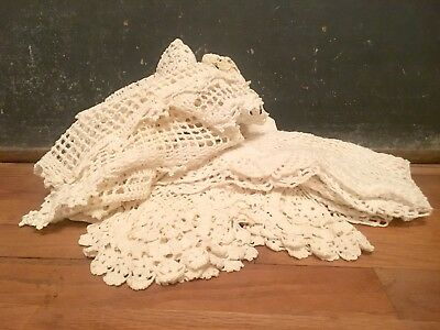 Lot of Vintage Hand Crocheted Doilies Squares Rectangles Oval Floral Horseshoe