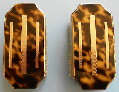 Art Deco Clothes Hair Brush Set Boxed Faux Tortoise Horn and Chrome Inlay Japan