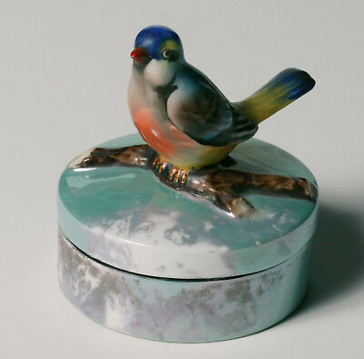 Vintage Art Deco NORITAKE POWDER DRESSER JAR - Large Figural Bird - Green Luster
